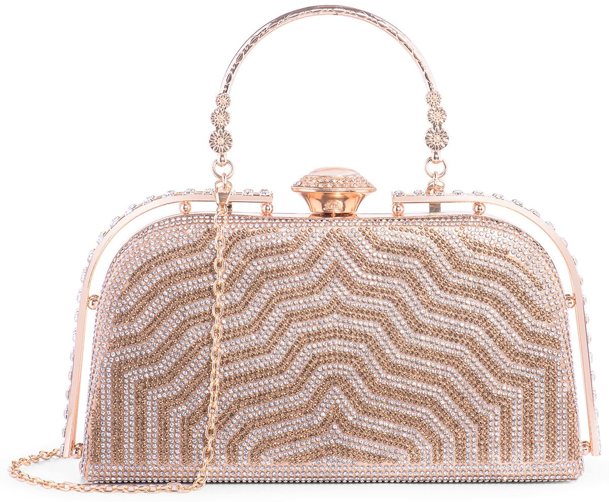 Yuenjoy Womens Evening Bags Rhinestone Clutch Purse for Bridal Wedding (Gold)