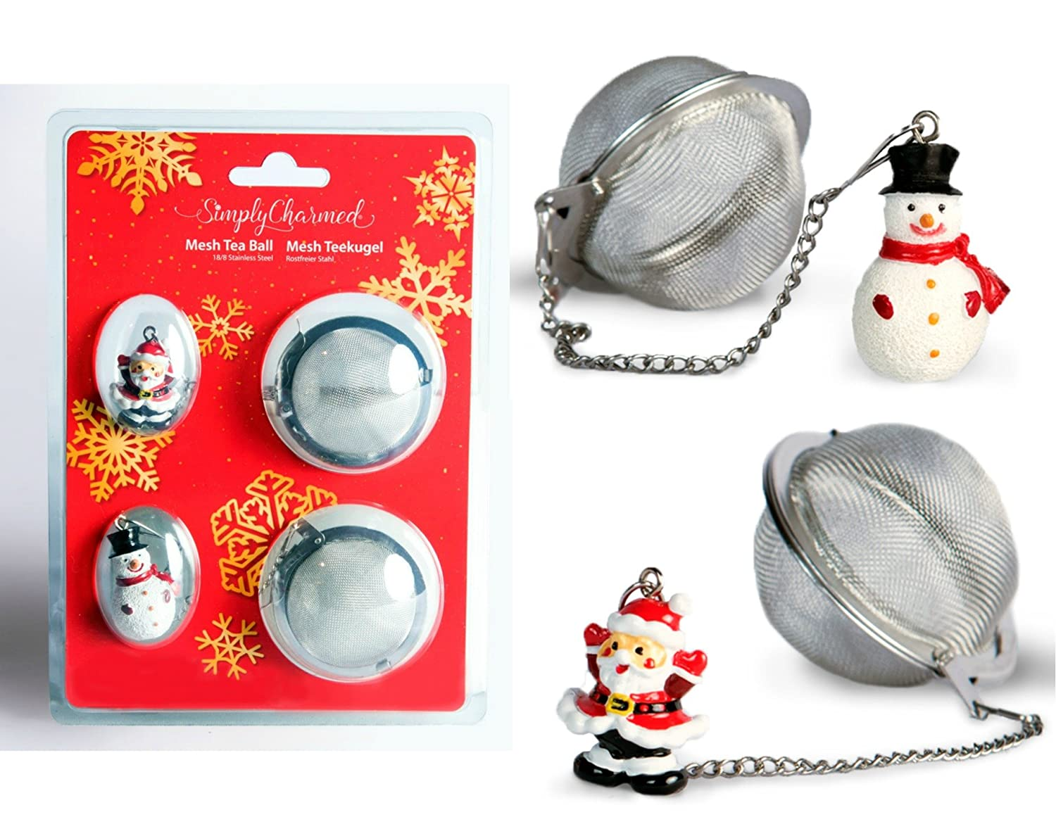 Tea Ball Infusers Two Pack Santa and Snowman Stainless Steel Strainers - Great Holiday Gift for Tea Lovers by Simply Charmed
