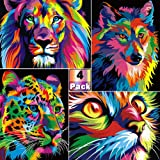 BLOCE Paint by Numbers for Adults, 4 Pack 16x20inch DIY Oil Painting Paint by Numbers Kits on Canvas, Cat Lion Leopard Wolf N