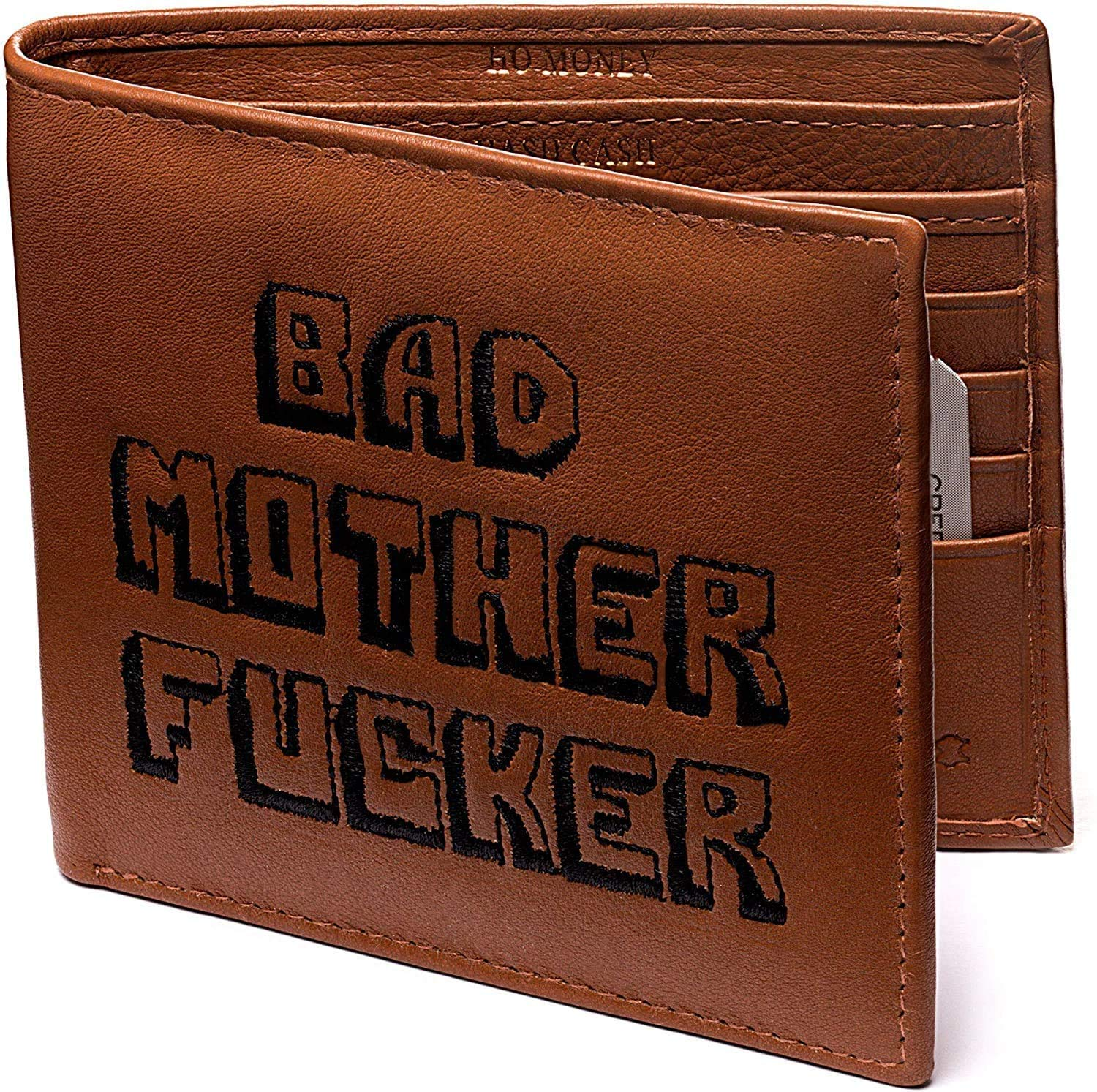 Bad Mother Fucker Wallet, Embroidered Lettering, Real Leather