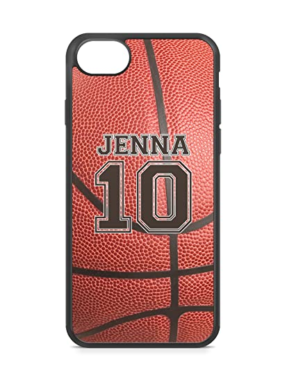check out 0a4c4 b31e9 CodeiCases iPhone 7 Basketball Case With Name And Number, Basketball Custom  Case, Cover Rubber Black Basketball iPhone Case