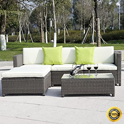 COLIBROX  5PC Outdoor Patio Sofa Set Sectional Furniture PE Wicker Rattan  Deck Couch Brown