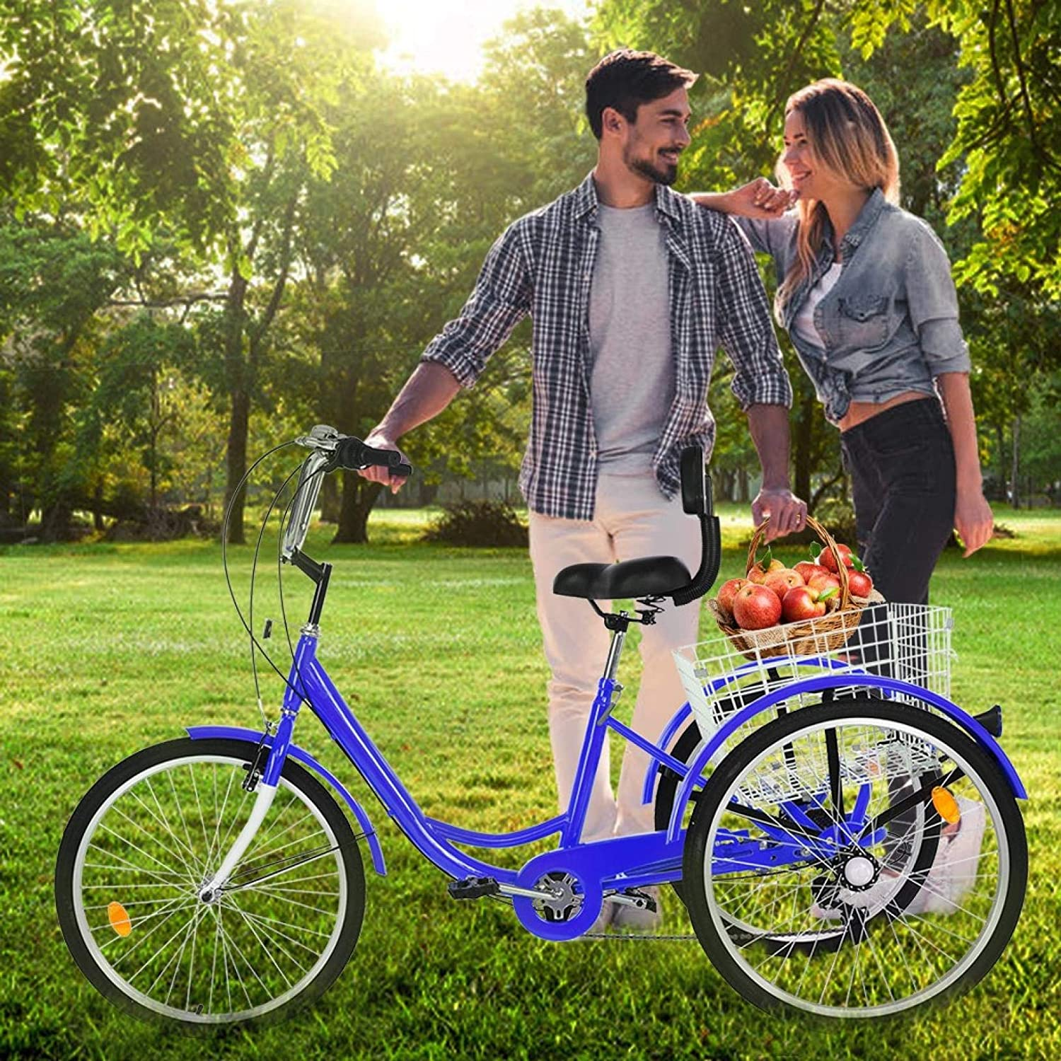 winwintom 【US Fast Shipment】 Adult Tricycle Bike 1//7 Speed 3-Wheel Bikes for Shopping W//Installation Tools,Three-Wheeled Bicycle Cruiser Tricycle w//Shopping Basket for Seniors,Women,Men,Comfort Bikes