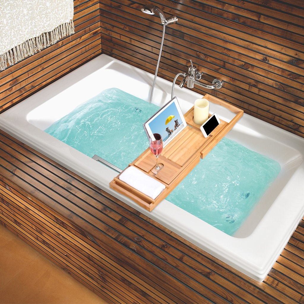 LANGRIA Bath Tray Bamboo Bathtub Caddy with Extending Sides Mug ...