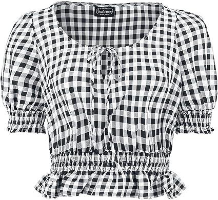 Voodoo Vixen Blusa o Camisa de Manga Corta a Cuadros Gingham Sadie en Color Negro L: Amazon.es: Ropa y accesorios