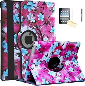 JYtrend Case for Old iPad 2(2011), iPad 3(2012), iPad 4(2012) Rotating Stand Smart Cover Magnetic Auto Wake Up/Sleep For iPad 2/3/4 A1395 A1396 A1397 A1403 A1416 A1430 A1458 A1459 A1460(Pink Camellia)