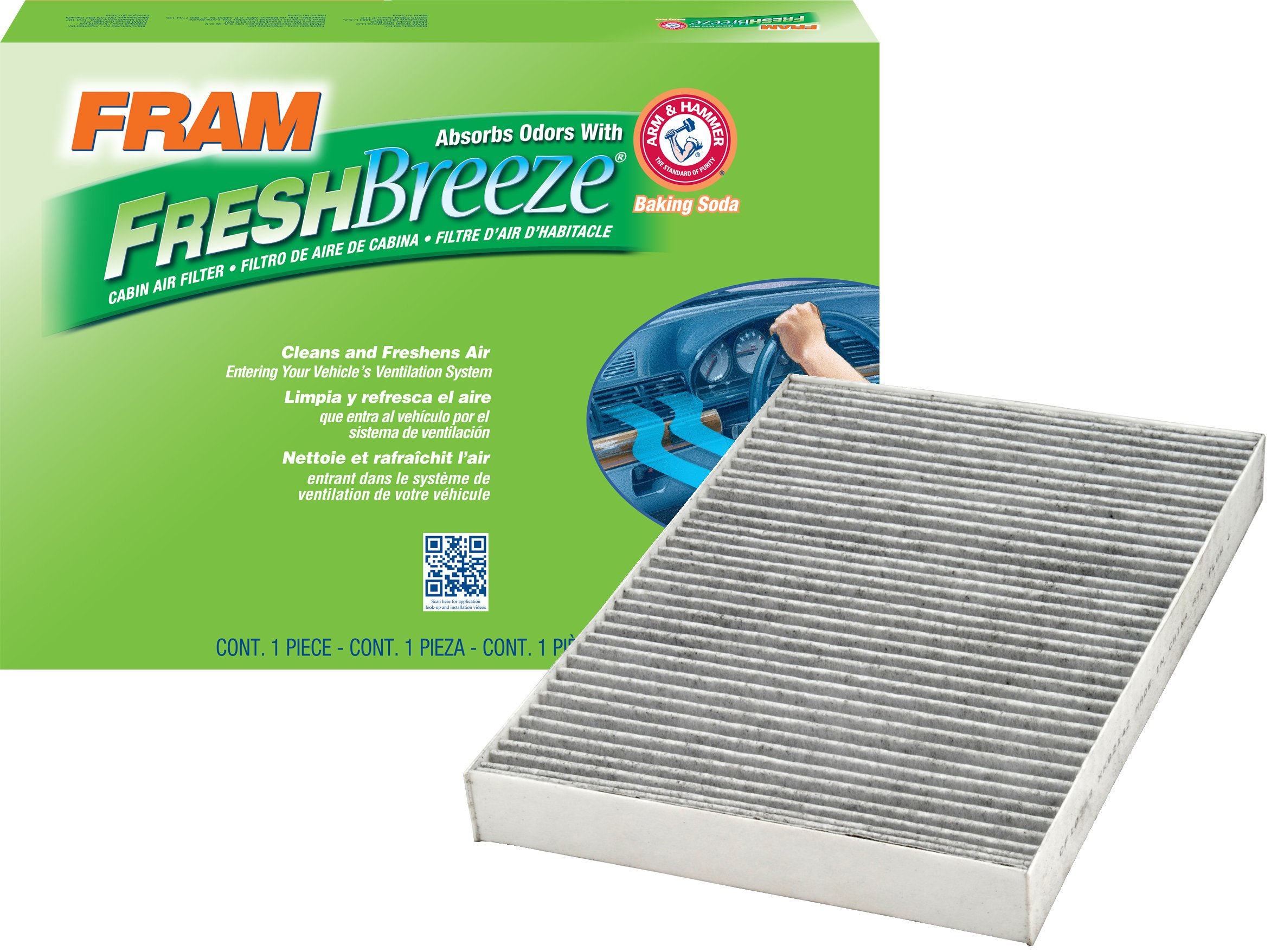 FRAM CF10368 Fresh Breeze Cabin Air Filter with Arm & Hammer