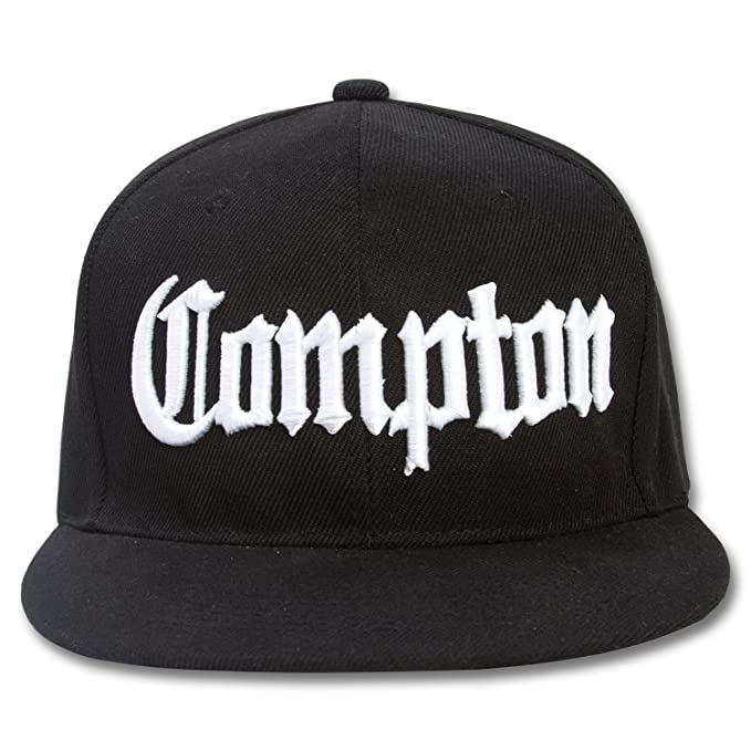 Amazon.com  Compton Flat Bill Snapback Black Adjustable Baseball Cap   Sports   Outdoors 080fbab7e20