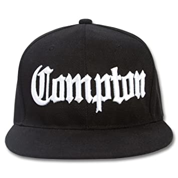 Image Unavailable. Image not available for. Color  Compton Flat Bill  Snapback Black Adjustable Baseball Cap fdb57d45e394