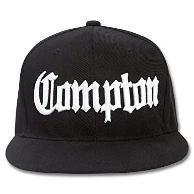 Compton Flat Bill Snapback Black Adjustable Baseball Cap Hat A.F ... 7361098de5