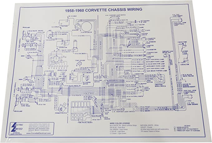 Amazon Com 1958 1960 Corvette Wiring Diagram Laminated 17x22 Wire Diagram Automotive