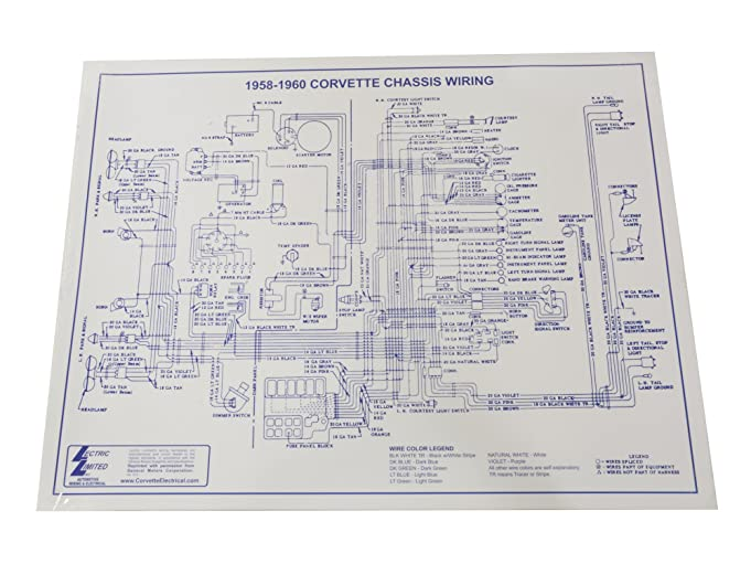 81JEQpcI89L._SX681_ amazon com 1958 1960 corvette wiring diagram laminated 17x22 wire 1960 corvette wiring diagram at aneh.co