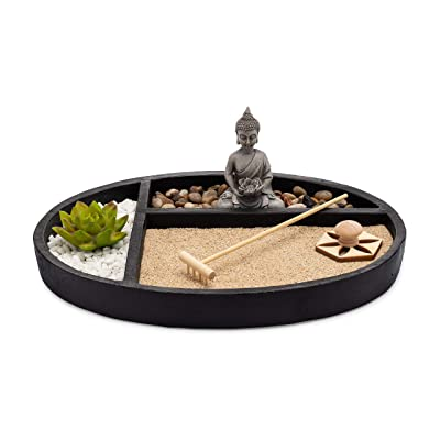 ASANALIVING Desktop Zen Sand Garden with Concrete Base, Meditating Buddha Statue, Bamboo Rake, Stamp and Faux Lotus Plant: Home & Kitchen