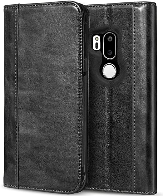 detailed look 9f39a c2f90 ProCase LG G7 Leather Case, LG G7 ThinQ Genuine Leather Case, Vintage  Folding Folio Flip Case with Kickstand Card Holders Magnetic Closure,  Leather ...