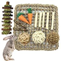 Tfwadmx Rabbit Activity Mat Bunny Chew Toy for Teeth Grinding Small Animal Activity Zone Natural Seagrass Protector Mat…