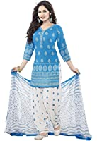Shiroya Brothers Women's Cotton Printed Unstitched Regular Wear Salwar Suit Dress Material (SB_Dress Material_Free Size_1890_Blue_White)
