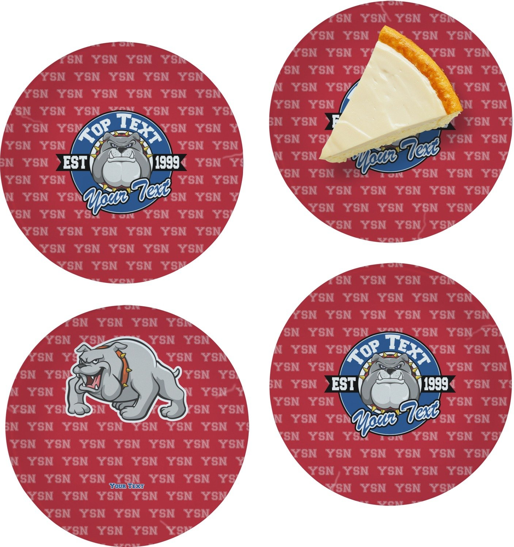 School Mascot Set of 4 Glass Appetizer/Dessert Plate 8'' (Personalized)