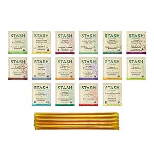 Stash Organic Tea Sampler - Variety Box Gift Set Assortment - Black, White, Green & Herbal Tea Bags - 16 Flavors (48 Count), with 5 Star Thistle Honey Sticks