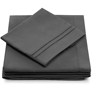 Cosy House Collection Queen Size Bed Sheets - Grey Luxury Sheet Set - Deep Pocket - Super Soft Hotel Bedding - Cool & Wrinkle Free - 1 Fitted, 1 Flat, 2 Pillow Cases - Charcoal Queen Sheets - 4 Piece