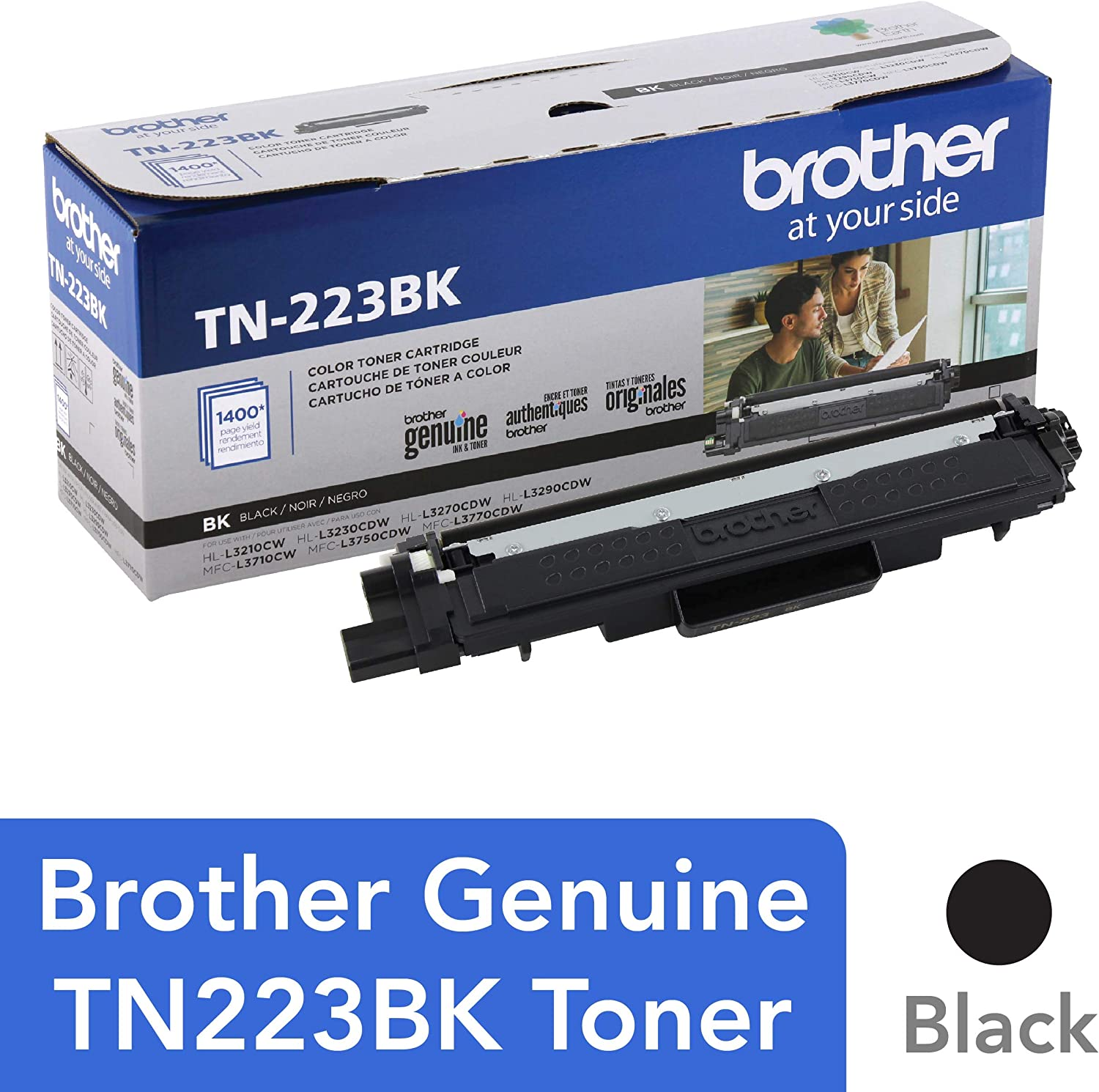 Brother Genuine TN223BK, Standard Yield Toner Cartridge, Replacement Black Toner, Page Yield Up to 1,400 Pages, TN223, Amazon Dash Replenishment Cartridge