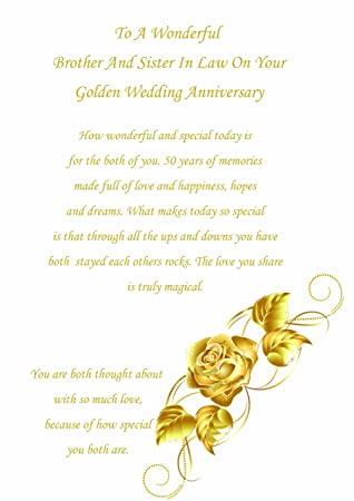brother sister in law golden wedding anniversary card amazon co