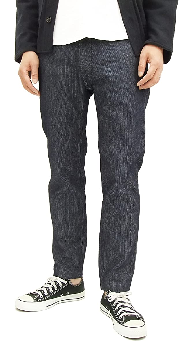 Cheap Sugar Cane Men's Casual Indigo Pique Striped Trousers SC41685 Ankle-Length Pants for sale