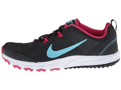 Nike Womens Wild Trail Anthracite/Vivid Pink/White/Polarized Blue 6.5 D -