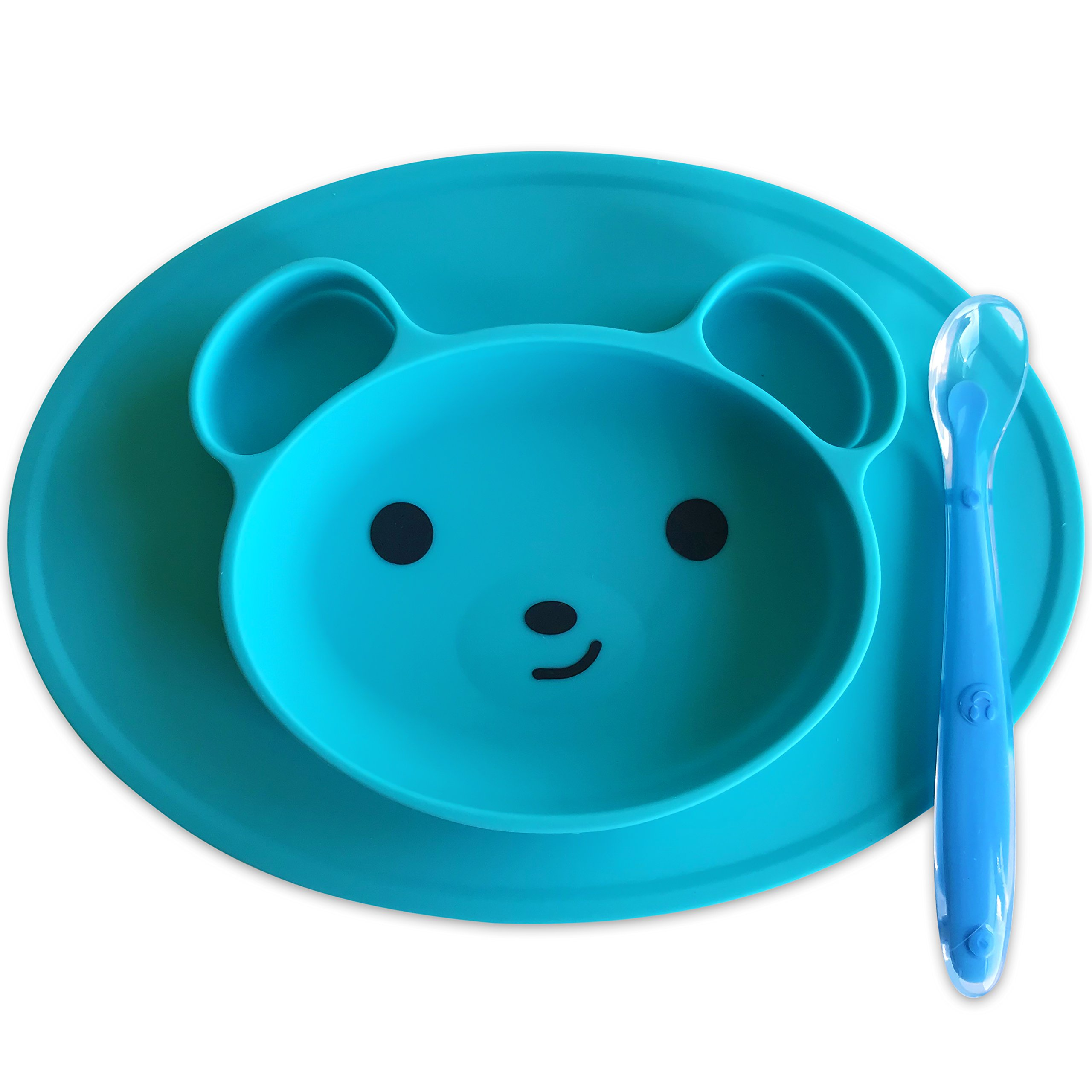 Silicone Baby Placemat [Happy Bear] Silicone Placemat For Toddlers Plus 1 Baby Spoon by Magnetor Plus (Blue)
