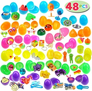 JOYIN 48 Toys Filled Easter Eggs, 2.5 Inches Bright Colorful Prefilled Plastic Easter Eggs with 24 Kinds of Popular Toys