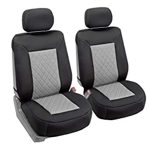 FH Group FB088102 Neosupreme Car Seat Cushion Deluxe Quality, Water Resistant, Non-Slip Backing, Easy Installation, Gray/Black Color - Fit Most Car, Truck, SUV, or Van