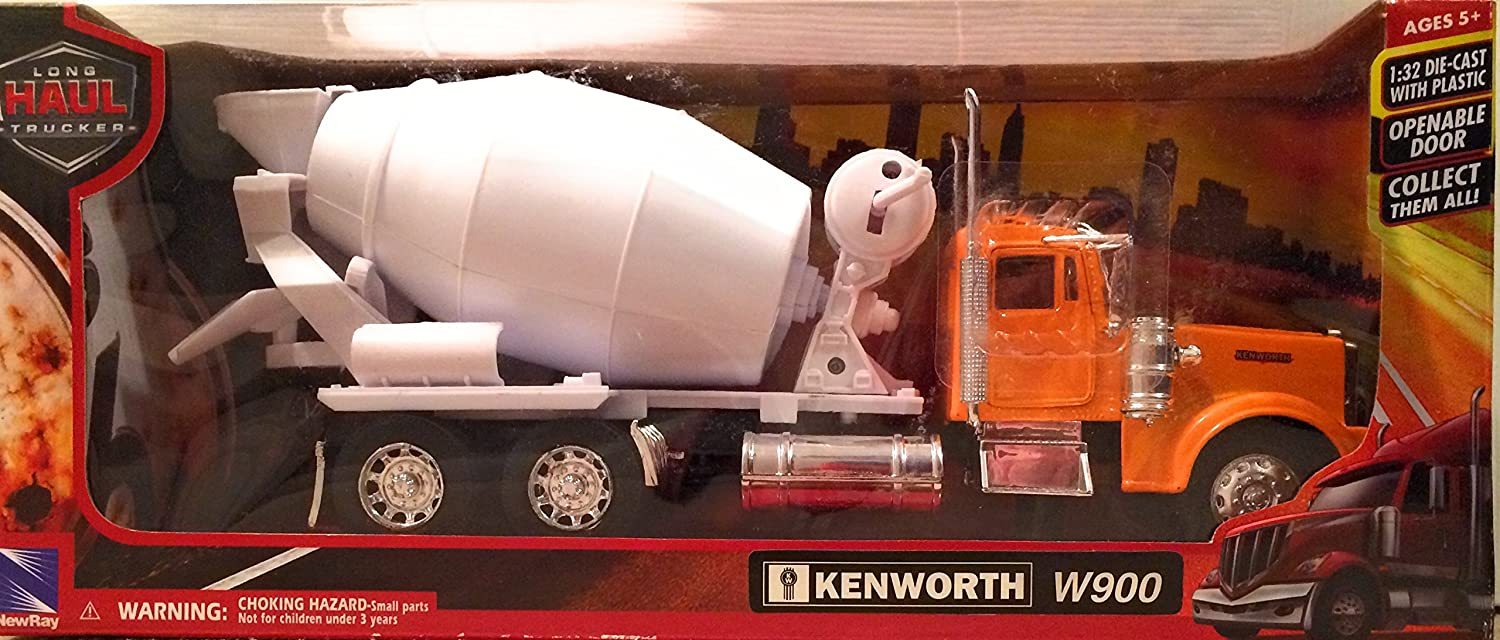 NewRay Kenworth W900 Cement Mixer in White 1:32 Scale Moving Parts Diecast Metal and Plastic