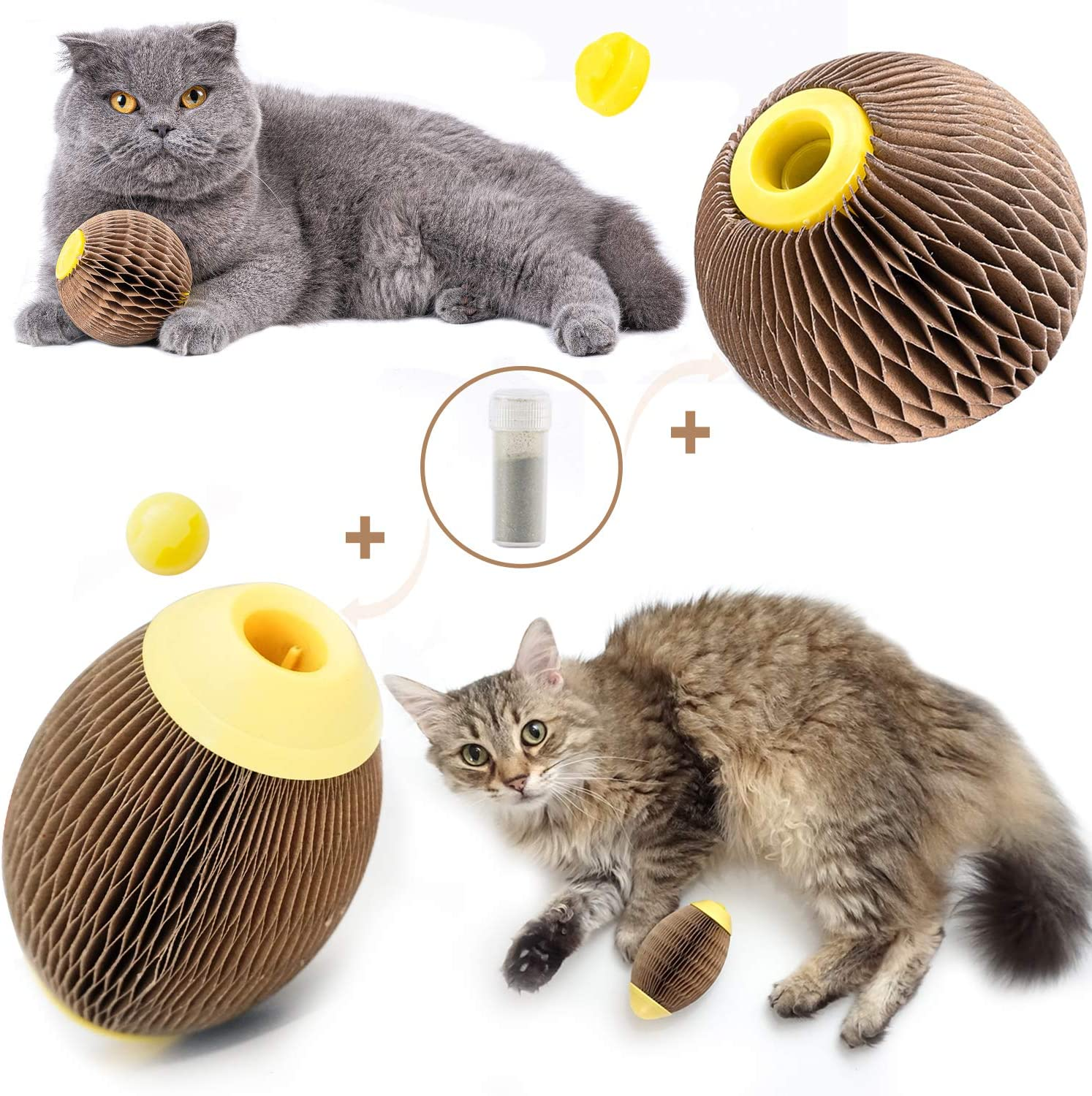 ARELLA 2 PCS Catnip Ball Toys for Cats Catnip Refillable Football Scratcher Balls Kitty's Faithful Playmate Reduce Obesity and Loneliness CSB16BR