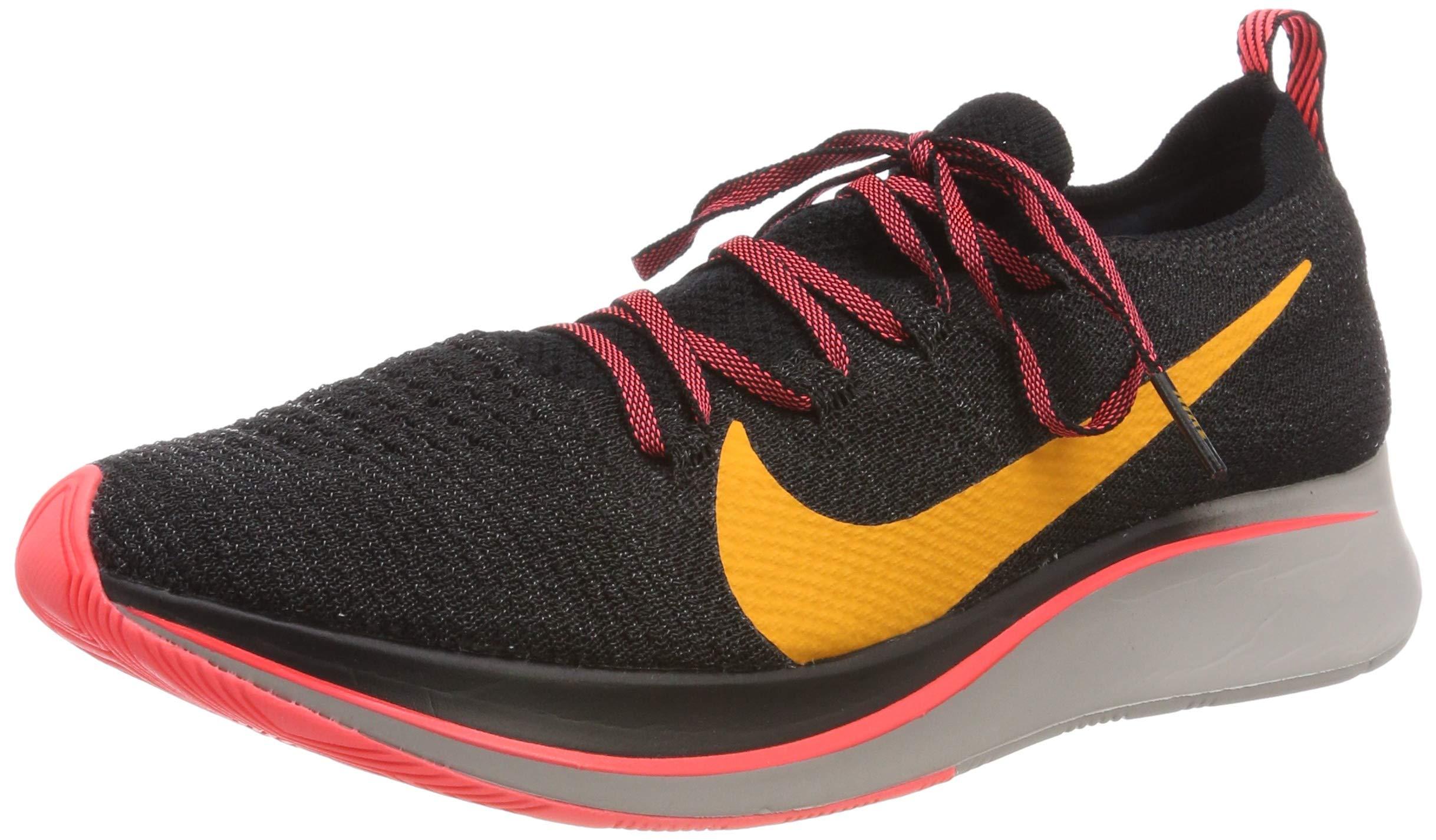 Nike Men's Zoom Fly Flyknit Black/Flash Crimson/Orange Peel Nylon Running Shoes 7.5 M US
