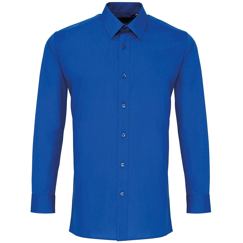 Premier - Camisa Trabajo Popelina Entallada Manga Larga Hombre Caballero (Cuello 14.5) (Azul): Amazon.es: Ropa y accesorios