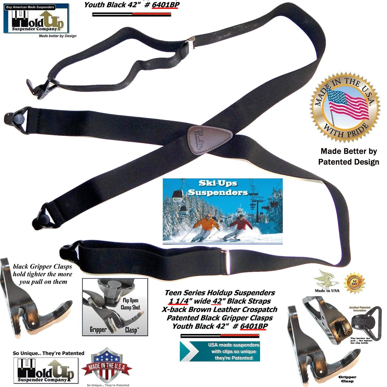 Holdup 42 Teenager sized Black Ski and sports Suspenders with Patented Gripper Clasps