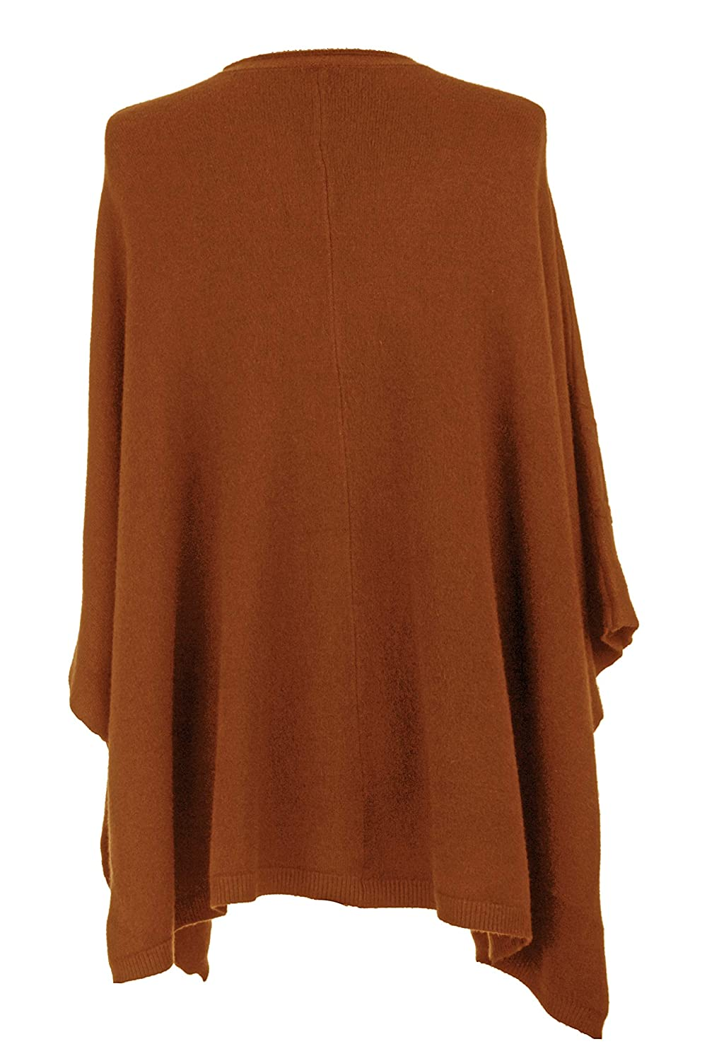 TEXTURE Ladies Womens Italian Lagenlook Button Detail 2 Pocket Batwing Knit Poncho Cape Top One Size