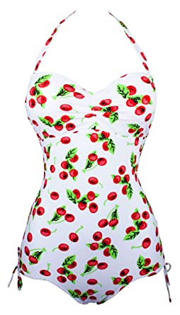 aa22e87708dbb Angerella Vintage Retro Cherry One Piece Swimsuit Monokinis (ASSA034-W1-L)   Amazon.co.uk  Clothing