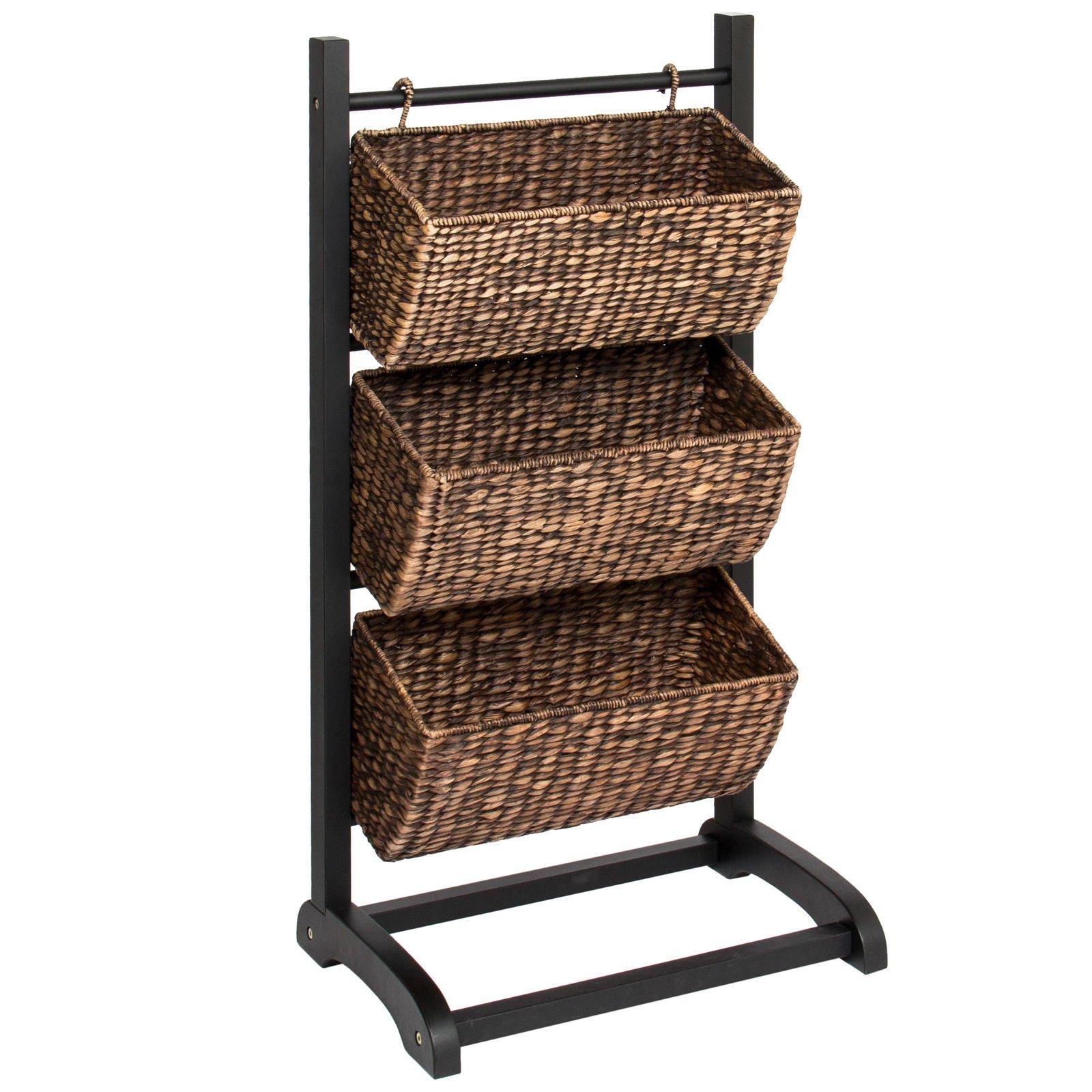 Water Hyacinth 3 Tier Storage Cubby Metal Shelf W/ Bonus Basket-Brushed Espresso