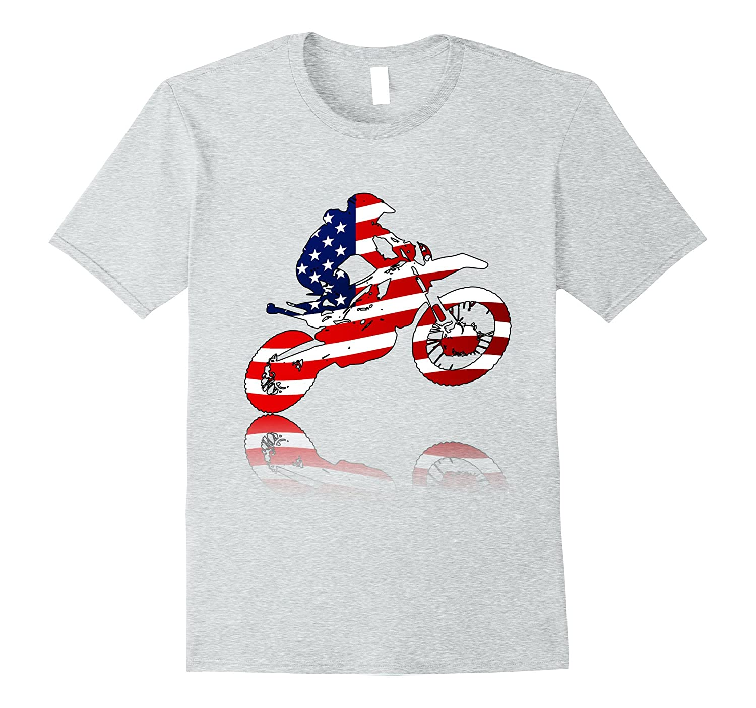 Motocross Motorcycle Patriotic Dirt Bike T-shirt-4LVS