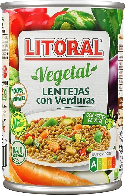 Litoral Vegetal Plato Preparado de Lentejas, con Verduras, sin Gluten, 430g