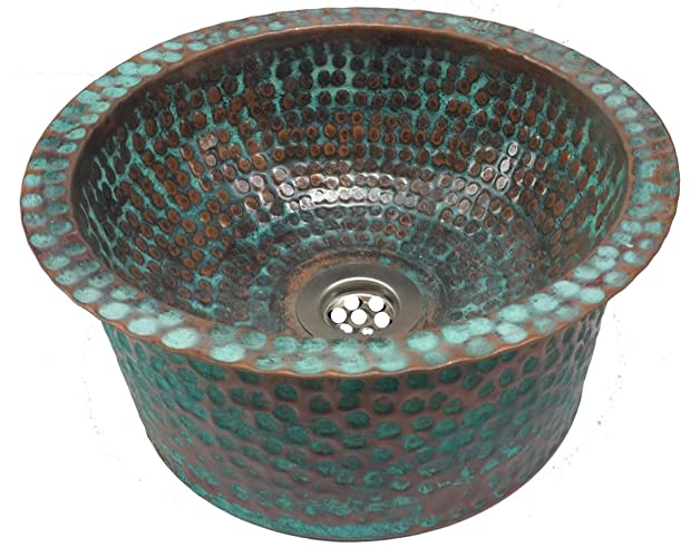 Petite Rustic Verde Vessel Apron Skirted Copper Sink Toilet Lavatory Basin  By Egypt Gift Shops