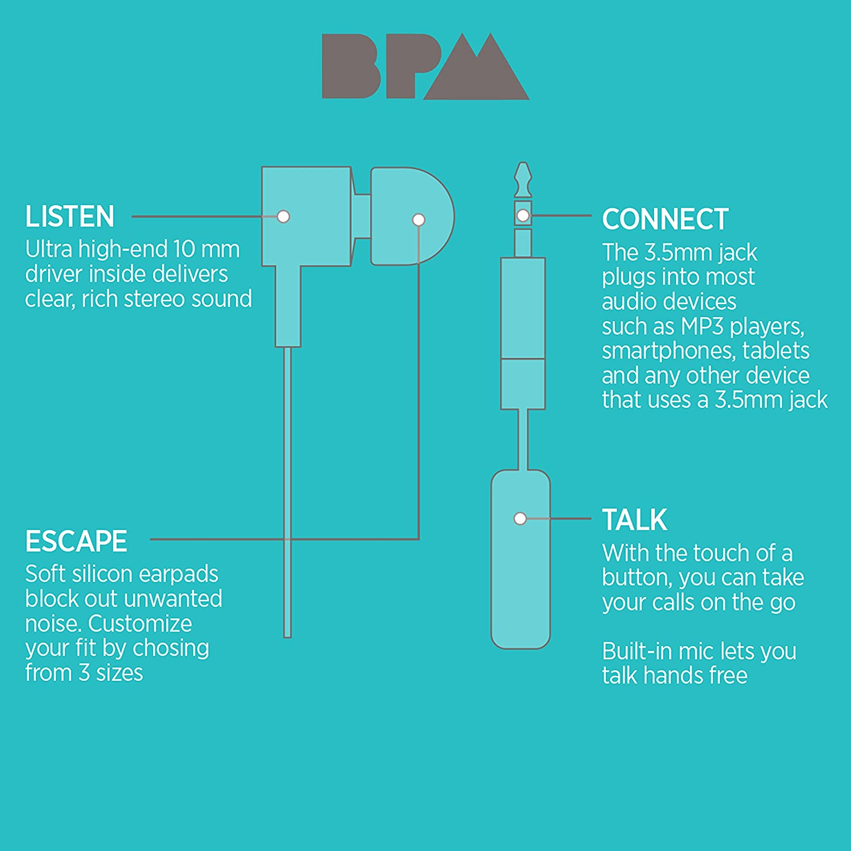Amazon.com: BPM Wave Metal In-Ear Corded Earbud Headphones with ...