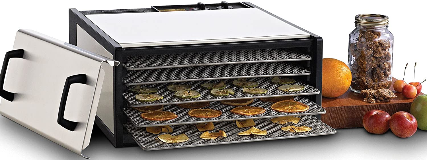 Excalibur D500SHD 5-Tray Electric Food Dehydrator with Clear Door for Viewing Progress Features 26-Hour Timer Temperature Settings and Automatic Shut Off Made in USA, 5-Tray, Silver