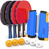 NIBIRU SPORT Professional Ping Pong Paddle Set with Retractable Net (Bracket Clamps), Balls, and Posts (3-Star…