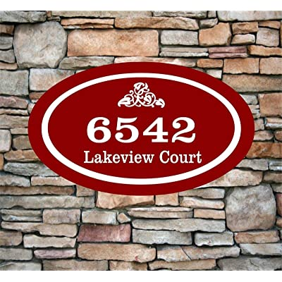 "KaruSale Personalized Home Address Sign Aluminum 12"" x 7"" Custom House Number Plaque Oval Shape (Red) : Garden & Outdoor"