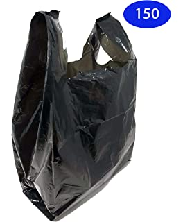 Black, 150 Homerite Grocery Shopping Plastic T-shirt Bags Plain 12 x 7 x 21