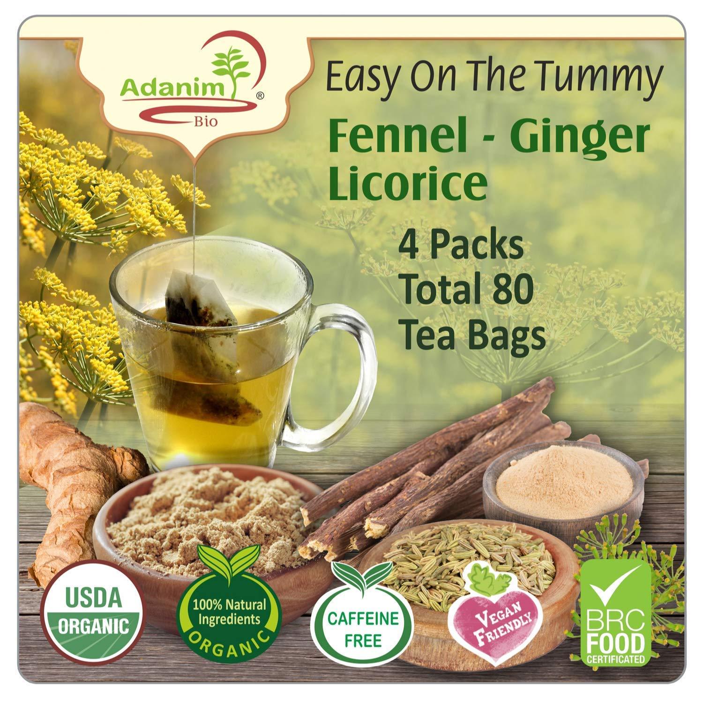 "Adanim Bio Organic Teas ""Easy on the Tummy"" Ginger Fennel Tea, Caffeine Free Herbal Tea, 20 Count, 80 Hot Tea Bags in Total"