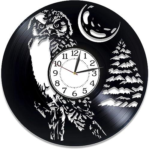 Kovides Owl Vinyl Clock 12 Inch