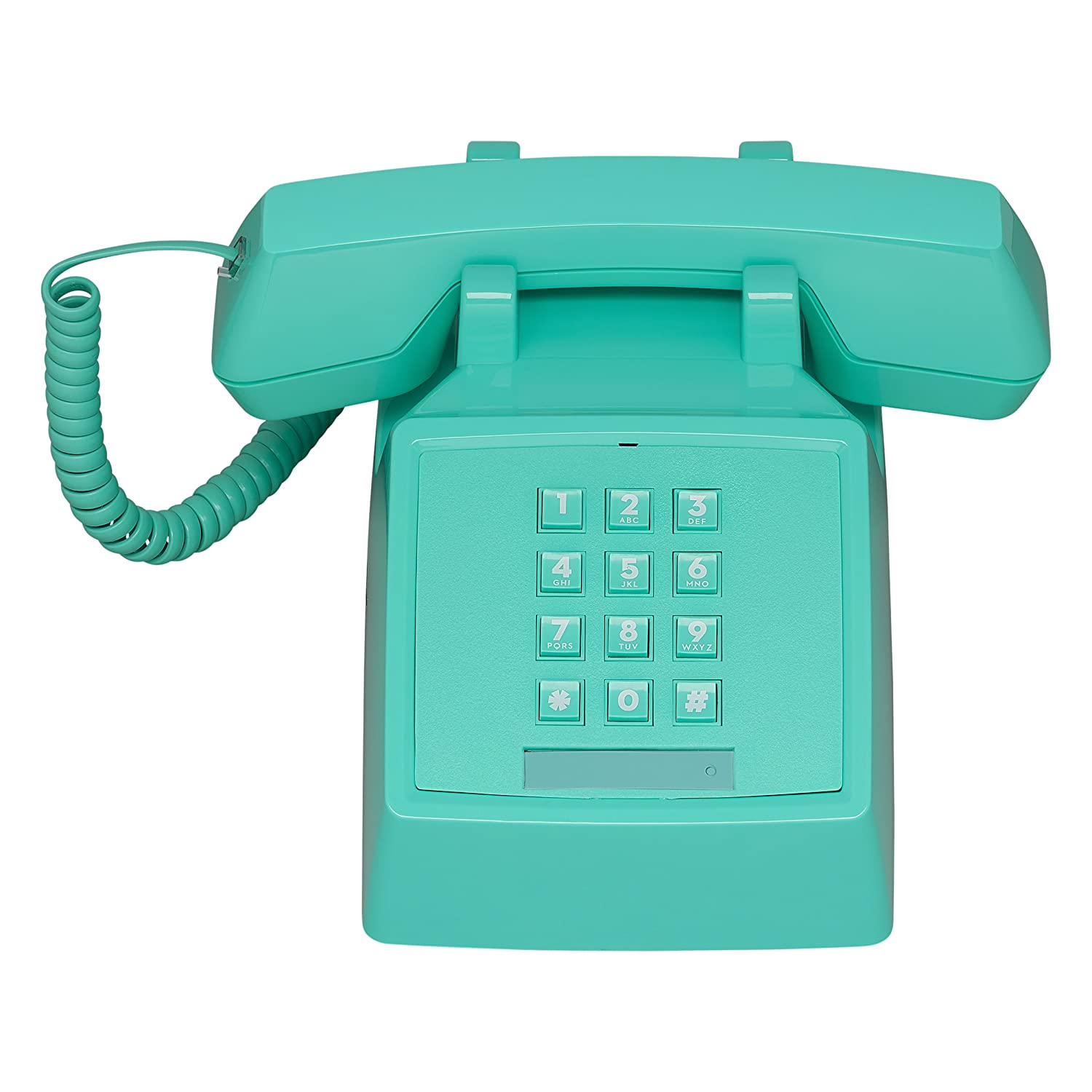 Wild Wood 2500 Classic Retro 1980s Style Corded Landline Phone with Push Buttons, Miami Turquoise Wild and Wolf ATP068