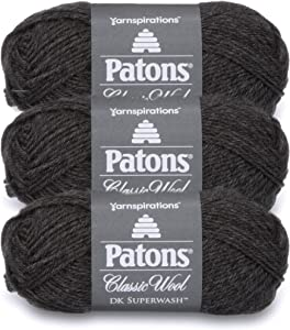 Patons Classic Wool DK Superwash Yarn - Gauge 3 Light - 100% Wool - (3-Pack) - Dark Grey Heather - for Crochet, Knitting, and Crafting